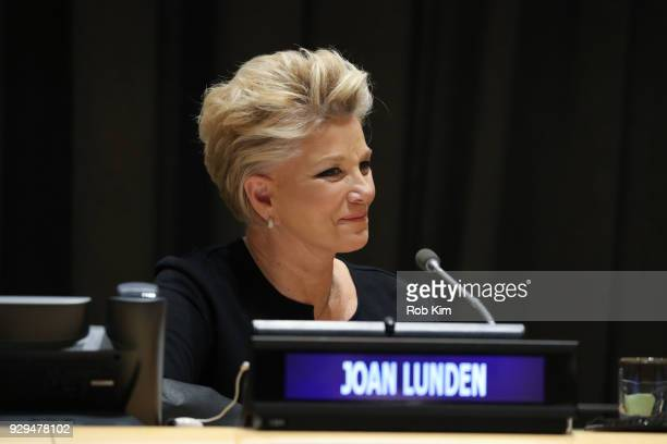 Joan Lunden attends International Women's Day The Role of Media To Empower Women Panel Discussion at the United Nations on March 8 2018 in New York...