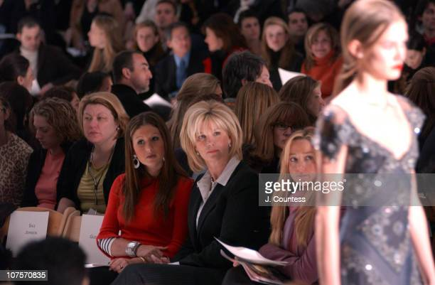 Joan Lunden during Olympus Fashion Week Fall 2004 Badgley Mischka Front Row and Backstage at The Promenade at Bryant Park in New York City New York...