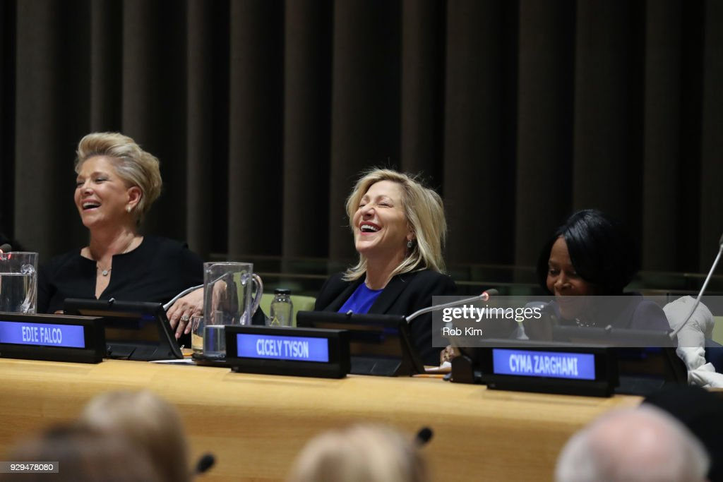 Joan Lunden, Edie Falco, Cicely Tyson attend International Women's Day The Role of Media To Empower Women Panel Discussion at the United Nations on March 8, 2018 in New York City.