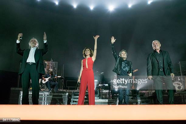 Joan Manuel Serrat Ana Belen Victor Manuel and Miguel Rios during the concert quotThe pleasure is oursquot in the Sports Palace of Madrid Spain June...