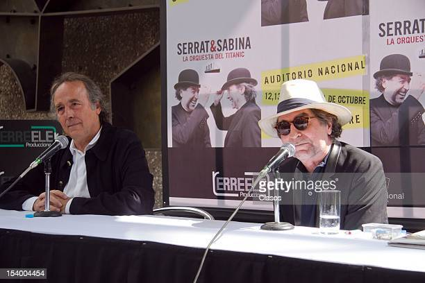 Joan Manuel Serrat and Joaquin Sabina announce about their concert tour at the Auditorio Nacional during the press conference on October 11 2012 in...