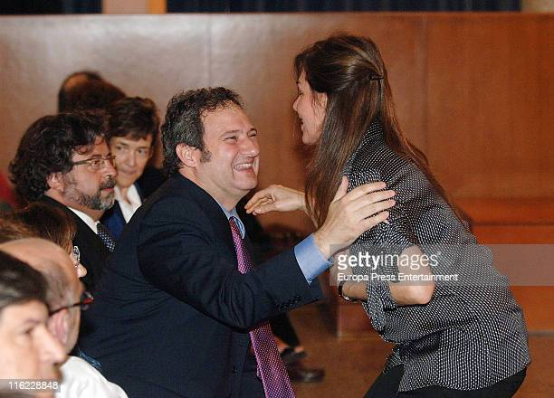 Joan Manuel Serrat's wife Candela Tiffon and Jordi Hereu attend the ceremony of Doctor Honoris Causa Degree from Pompeu Fabra university to Joan...