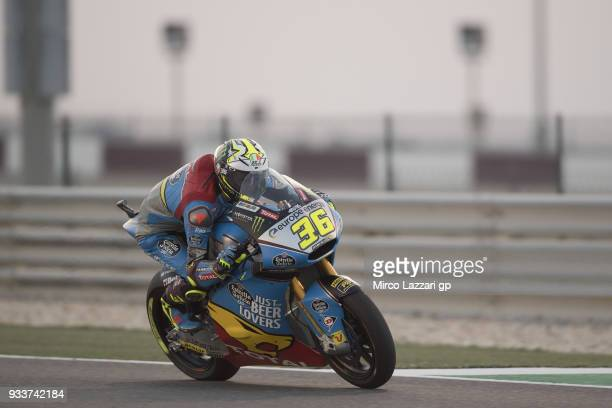Joan Mir of Spain and EG 00 Marc VDS heads down a straight during the Moto2 race during the MotoGP of Qatar Race at Losail Circuit on March 18 2018...