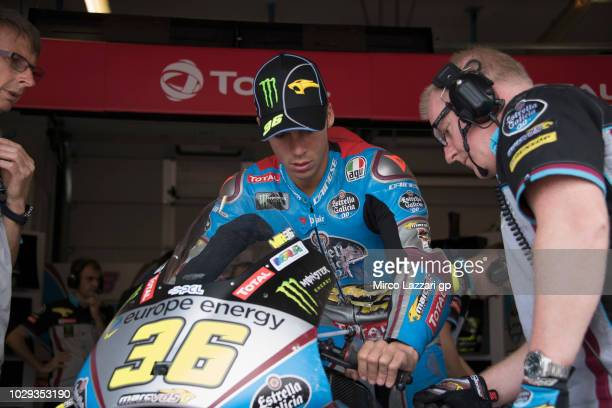 Joan Mir of Spain and EG 00 Marc VDS prepares to start in box during the qualifying practice during the MotoGP of San Marino Qualifying at Misano...
