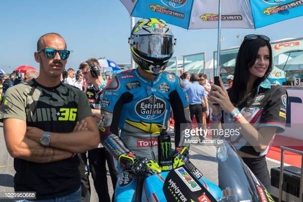 Joan Mir of Spain and EG 00 Marc VDS prepares to start on the grid during the Moto2 race during the MotoGP of San Marino Race at Misano World Circuit...