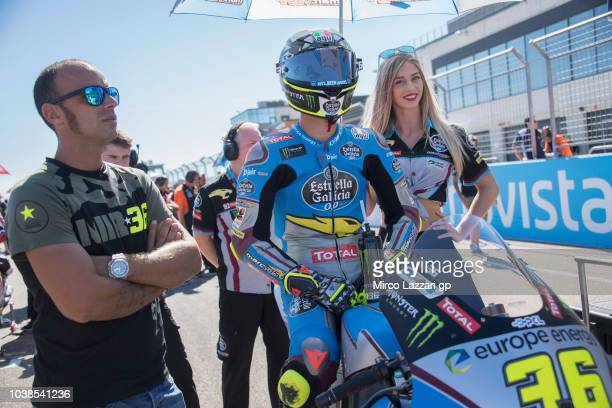 Joan Mir of Spain and EG 00 Marc VDS prepares to start on the grid during the Moto2 race during the MotoGP of Aragon Race at Motorland Aragon Circuit...