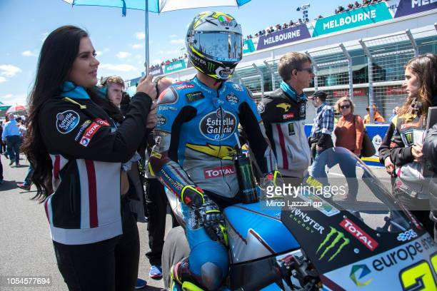 Joan Mir of Spain and EG 00 Marc VDS prepares to start on the grid during the Moto2 race during the MotoGP of Australia Race during the 2018 MotoGP...