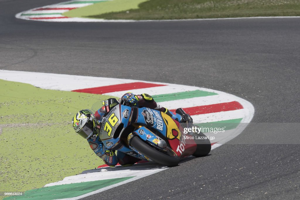Joan Mir of Spain and EG 0,0 Marc VDS rounds the bend during the Moto2 race during the MotoGp of Italy - Race at Mugello Circuit on June 3, 2018 in Scarperia, Italy.