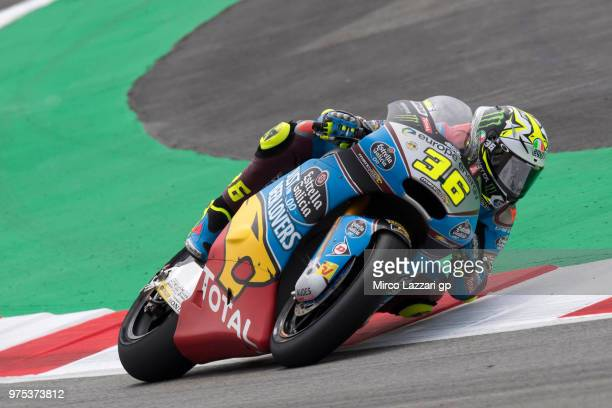 Joan Mir of Spain and EG 00 Marc VDS rounds the bend during the MotoGp of Catalunya Free Practice at Circuit de Catalunya on June 15 2018 in Montmelo...