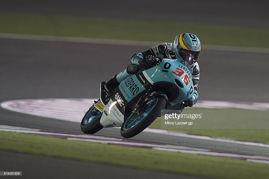 Joan Mir of Spain and Leopard Racing heads down a straight during the Moto2 And Moto 3 Tests at Losail Circuit on March 13, 2016 in Doha, Qatar.