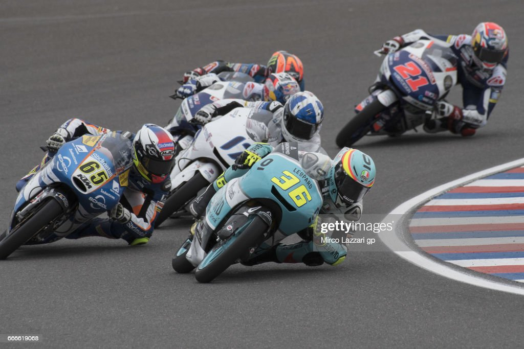 Joan Mir of Spain and Leopard Racing leads the field during the end of the Moto3 race during the MotoGp of Argentina - Race on April 9, 2017 in Rio Hondo, Argentina.