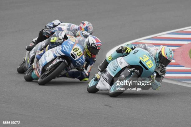 Joan Mir of Spain and Leopard Racing leads the field during the end of the Moto3 race during the MotoGp of Argentina Race on April 9 2017 in Rio...