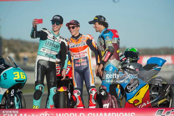 Joan Mir of Spain and Leopard Racing Marc Marquez of Spain and Repsol Honda Team and Franco Morbidelli of Italy and EG 00 Marc VDS make a selfie near...