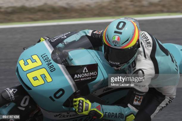 Joan Mir of Spain and Leopard Racing rounds the bend during the MotoGp of Catalunya Free Practice at Circuit de Catalunya on June 9 2017 in Montmelo...