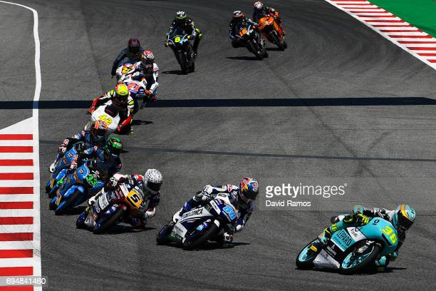 Joan Mir of Spain and Leopard Racing Team leads the race during the Moto3 race at Circuit de Catalunya on June 11, 2017 in Montmelo, Spain.