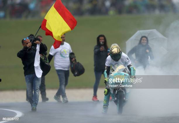 Joan Mir of Spain and rider of the SPA Leopard Racing Honda celebrates after winning the Moto3 World Championship during the 2017 MotoGP of Australia...