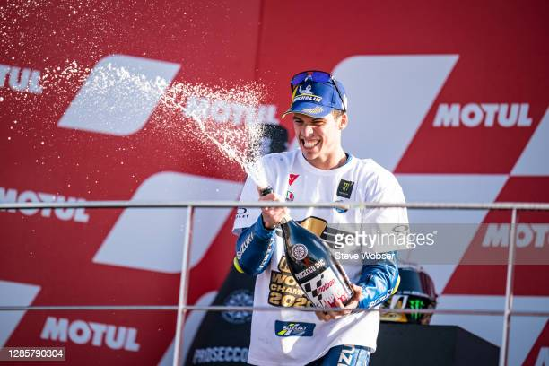Joan Mir of Spain and Team SUZUKI ECSTAR celebrates his title win with champaign during the MotoGP of Comunitat Valenciana at Comunitat Valenciana...