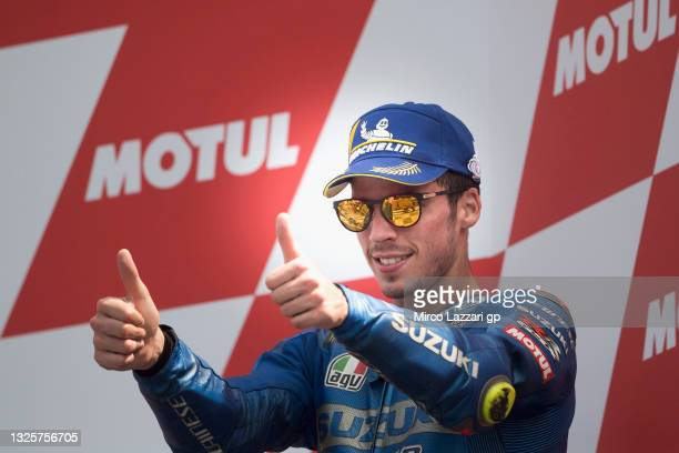 Joan Mir of Spain and Team Suzuki ECSTAR celebrates the third place on the podium during the MotoGP race during the MotoGP of Netherlands - Race at...