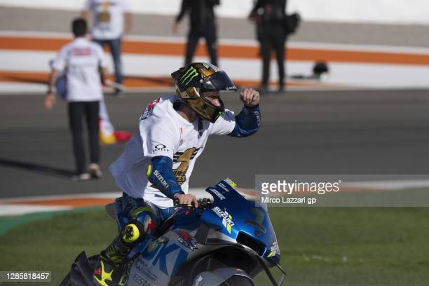 Joan Mir of Spain and Team Suzuki ECSTAR celebrates the victory of 2020 championship of MotoGp season at the end of the MotoGp race during the MotoGP...