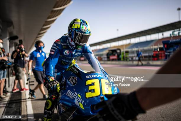 Joan Mir of Spain and Team SUZUKI ECSTAR comes back to his garage after his first laps at Losail Circuit on March 26, 2021 in Doha, Qatar.