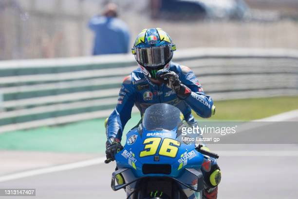 Joan Mir of Spain and Team Suzuki ECSTAR greets and celebrates the third place during the MotoGP race during the MotoGP of Portugal - Race at...