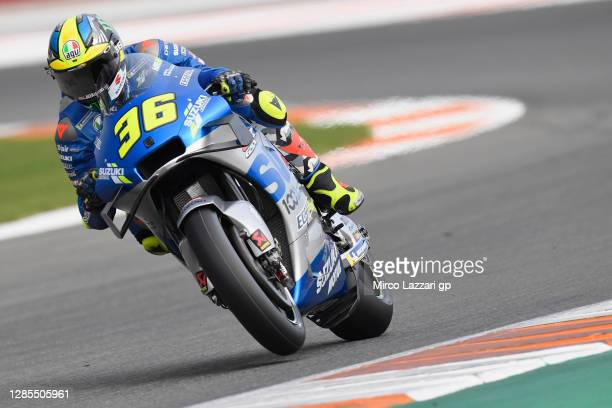 Joan Mir of Spain and Team Suzuki ECSTAR heads down a straight during the free practice for the MotoGP of Comunitat Valenciana at Comunitat...