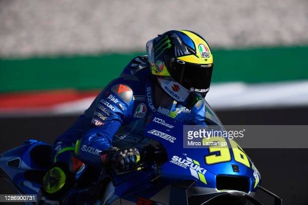 Joan Mir of Spain and Team Suzuki ECSTAR heads down a straight during the qualifying for the MotoGP of Portugal at Algarve Motor Park on November 21,...