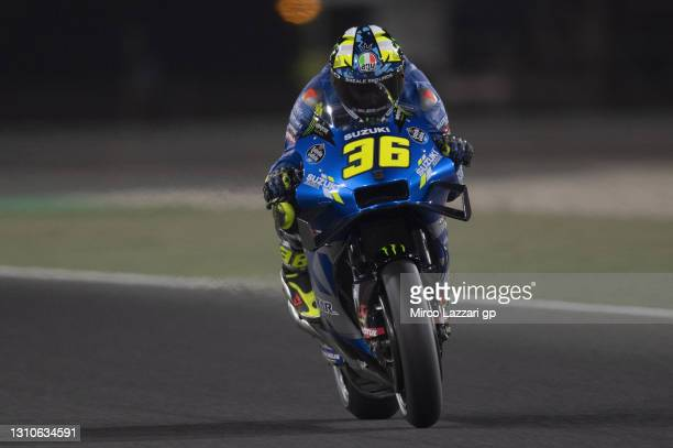 Joan Mir of Spain and Team Suzuki ECSTAR heads down a straight during the MotoGP of Qatar - Qualifying at Losail Circuit on April 03, 2021 in Doha,...
