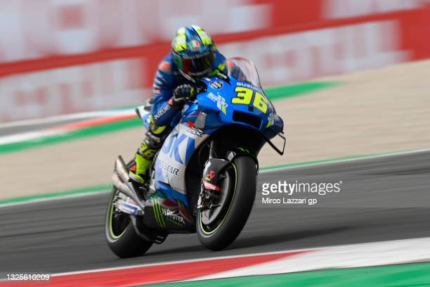 Joan Mir of Spain and Team Suzuki ECSTAR heads down a straight during the MotoGP of Netherlands - Qualifying at TT Circuit Assen on June 26, 2021 in...