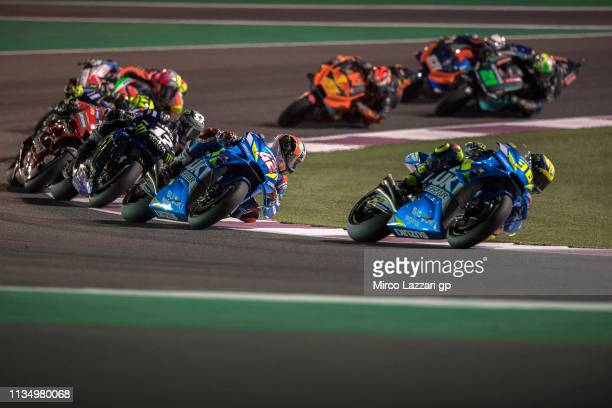 Joan Mir of Spain and Team Suzuki ECSTAR leads the field during the MotoGP of Qatar - Race at Losail Circuit on March 10, 2019 in Doha, Qatar.