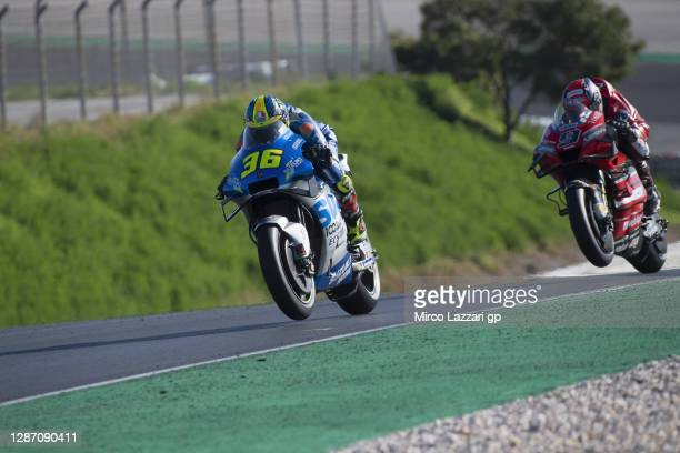 Joan Mir of Spain and Team Suzuki ECSTAR leads the field during the MotoGP race during the MotoGP of Portugal at Algarve Motor Park on November 22,...