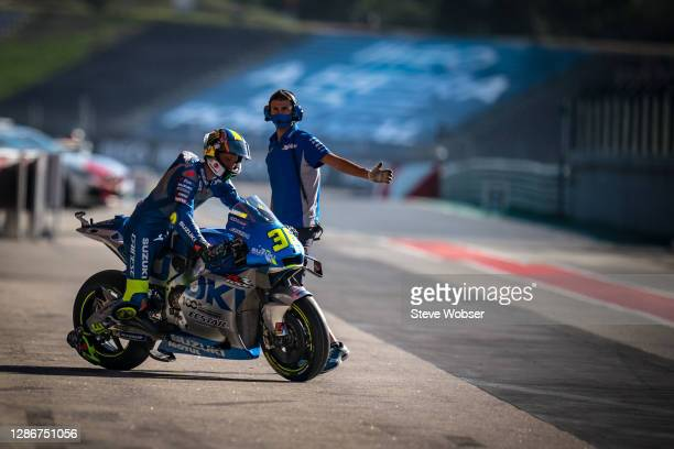 Joan Mir of Spain and Team SUZUKI ECSTAR leaves his garage during the free practice for the MotoGP of Portugal at Algarve Motor Park on November 20,...