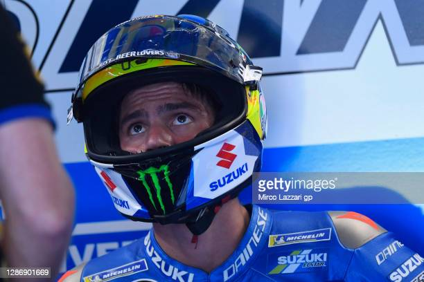Joan Mir of Spain and Team Suzuki ECSTAR looks on in box during the qualifying for the MotoGP of Portugal at Algarve Motor Park on November 21, 2020...