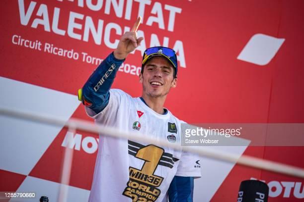 Joan Mir of Spain and Team SUZUKI ECSTAR on the podium after winning his first MotoGP title during the MotoGP of Comunitat Valenciana at Comunitat...