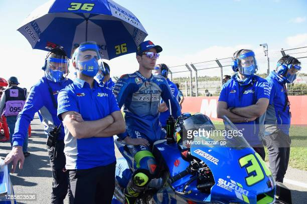 Joan Mir of Spain and Team Suzuki ECSTAR prepares to start on the grid during the MotoGP race during the MotoGP of Comunitat Valenciana at Comunitat...