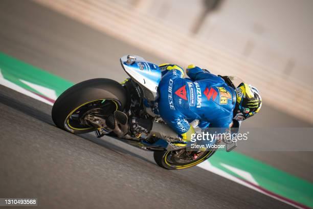 Joan Mir of Spain and Team SUZUKI ECSTAR rides at Losail Circuit on April 02, 2021 in Doha, Qatar.
