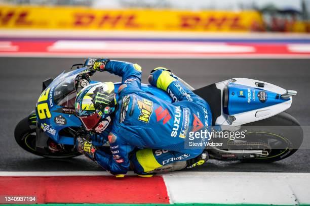 Joan Mir of Spain and Team SUZUKI ECSTAR rides during the free practice session of the MotoGP Gran Premio Octo di San Marino e della Riviera di...