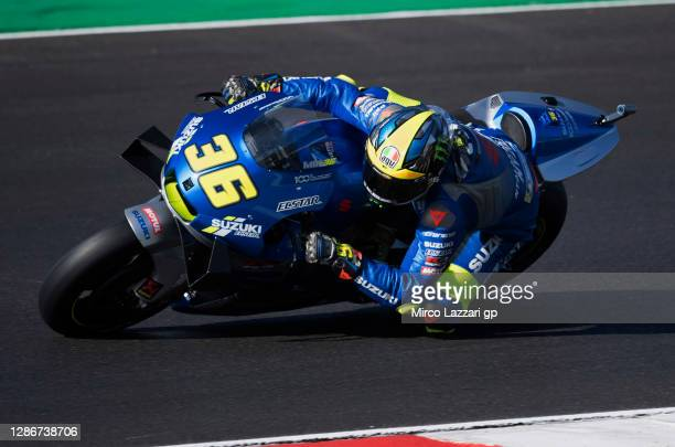Joan Mir of Spain and Team Suzuki ECSTAR rounds the bend during the free practice for the MotoGP of Portugal at Algarve Motor Park on November 20,...