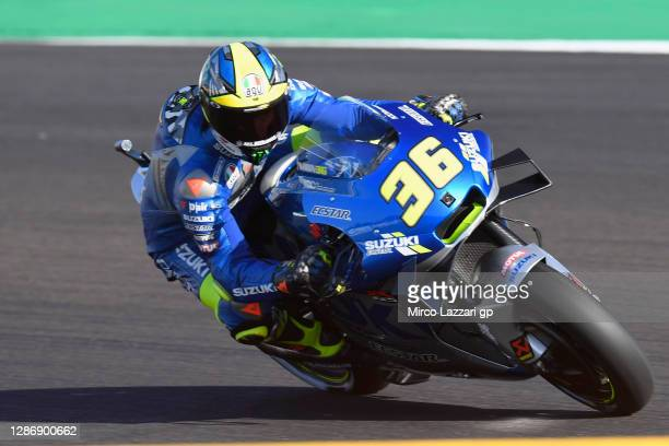 Joan Mir of Spain and Team Suzuki ECSTAR rounds the bend during the qualifying for the MotoGP of Portugal at Algarve Motor Park on November 21, 2020...