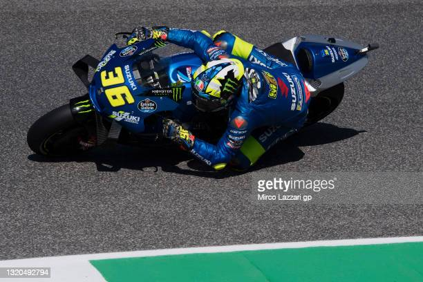 Joan Mir of Spain and Team Suzuki ECSTAR rounds the bend during the MotoGP Of Italy - Free Practice at Mugello Circuit on May 28, 2021 in Scarperia,...