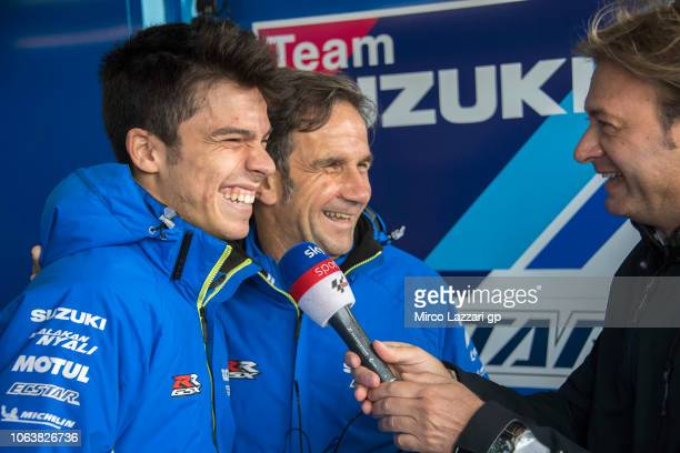Joan Mir of Spain and Team Suzuki ECSTAR smiles with journalist in box during the MotoGP Tests In Valencia at Ricardo Tormo Circuit on November 20,...