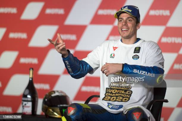 Joan Mir of Spain and Team Suzuki ECSTAR speaks during the press conference of 2020 Champ of MotoGp season at the end of the MotoGp race during the...