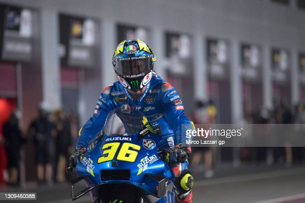 Joan Mir of Spain and Team Suzuki ECSTAR starts from box during the MotoGP of Qatar - Qualifying at Losail Circuit on March 27, 2021 in Doha, Qatar.
