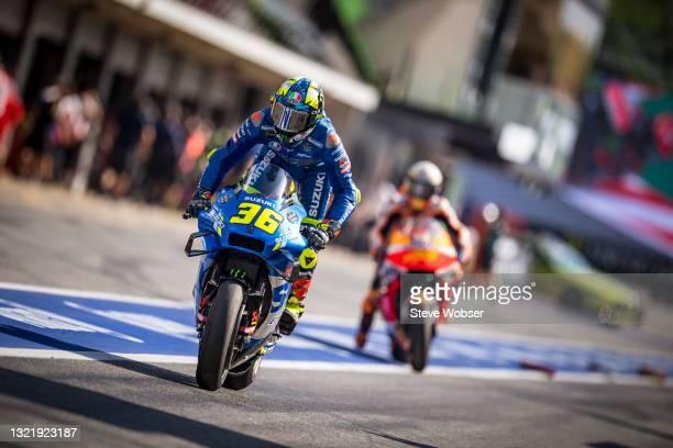 Joan Mir of Spain and Team SUZUKI ECSTAR starts his session during the MotoGP Gran Premi Monster Energy de Catalunya at Circuit de...