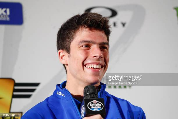 Joan Mir, rider of Suzuki Ecstar MotoGP, attends during the press conference after winning the MotoGP World Championship, at VP Plaza Hotel on...