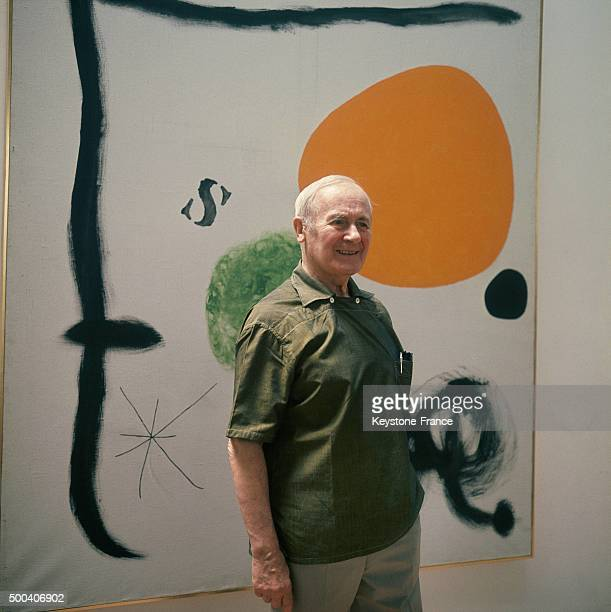 Joan Miro in front of one of his ceramic mural fresco which will be shown at the Fondation Maeght a museum of modern art situated in SaintPaul de...