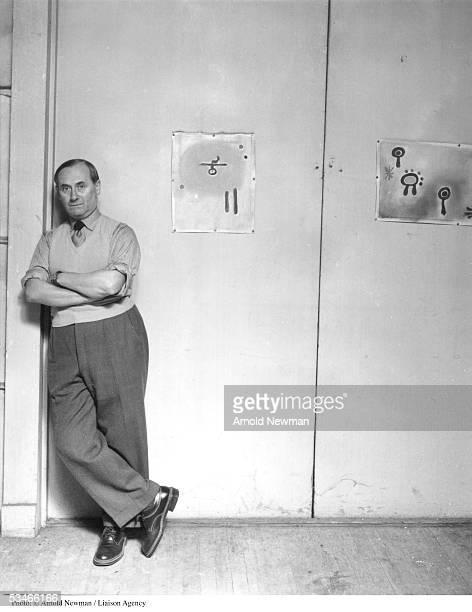Joan Miro Spanish Surrealist artist poses for portrait in his studio August 27 1947 in New York City