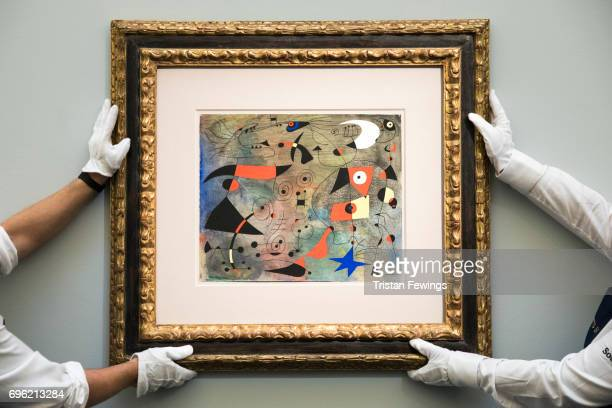 Joan Miro's Femme et oiseaux goes on view at Sotheby's on June 15 2017 in London England The work is one of the highlights of Sotheby's first ever...