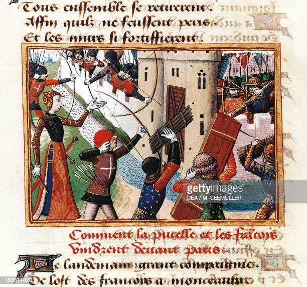 Joan of Arc at the gates of St Honore from where the assault on Paris begins miniature from the Vigiles de Charles VII by Martial de Paris France...