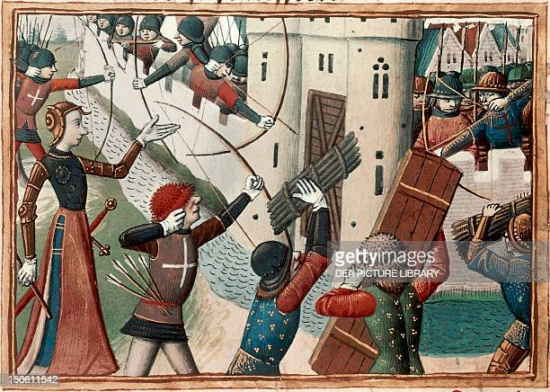 Joan of Arc at the siege of Orleans miniature from the Vigiles de Charles VII by Martial de Paris France 15th century